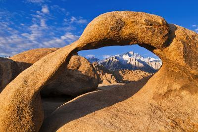 Dawn Light on Lone Pine Peak Through Mobius Arch, Inyo National Forest, California-Russ Bishop-Photographic Print