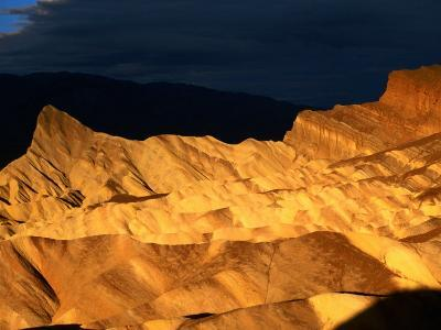 Dawn Light Over Zabriskie Point Yellow-Tinted Rock Formation, Death Valley National Park, U.S.A.-Ruth Eastham-Photographic Print