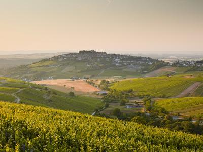 Dawn Light Starts to Fill the Skies Above the Village and Vineyards of Sanerre, Cher, Loire Valley,-Julian Elliott-Photographic Print