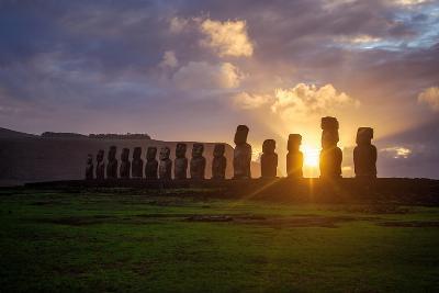 Dawn on Isla De Pascua. Rapa Nui. Easter Island-Vladimir Krupenkin-Photographic Print