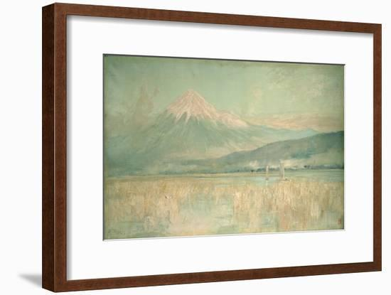 Dawn on the Sacred Mountain, the Fuji Sun Half Hidden in the Clouds, 1889-Sir Alfred East-Framed Premium Giclee Print