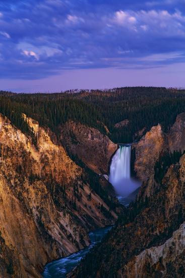 Dawn over Lower Yellowstone Falls and the Yellowstone River-Babak Tafreshi-Photographic Print