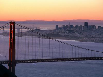 Dawn Over the Golden Gate Bridge from Marin Headlands, San Francisco, California, USA-David Tomlinson-Photographic Print