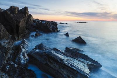 Dawn, Rocks, and Surf. Wallis Sands State Park, Rye, New Hampshire-Jerry & Marcy Monkman-Photographic Print