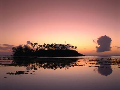Dawn Sky Over Motu Taakoka, Mirrored in Waters of Muri Lagoon, Muri, Cook Islands-Manfred Gottschalk-Photographic Print