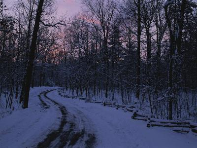 Dawn View of a Snow-Covered Road-George F^ Mobley-Photographic Print