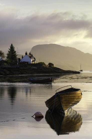 Dawn View of Plockton and Loch Carron Near the Kyle of Lochalsh in the Scottish Highlands-John Woodworth-Photographic Print