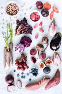 Collection of Fresh Purple Toned Vegetables and Fruits on White Rustic Background, Eggplant, Beetro by Daxiao Productions