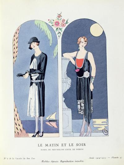 Day and Night, Plate 47 from 'La Gazette Du Bon Ton' Depicting Day and Evening Dresses, 1924-25-Georges Barbier-Giclee Print