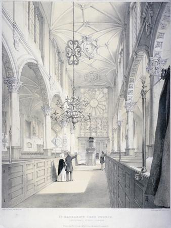 Interior View of the East End of the Church of St Katherine Cree, City of London, 1840