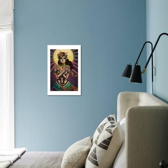 Day Of The Dead Crossbones Lantern Press Art Print Displayed On A Wall