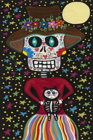 Day of the Dead Girl with Cat-Kerri Ambrosino-Giclee Print