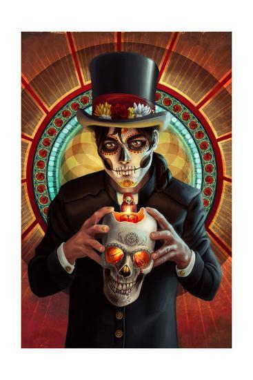 Day of the Dead - Man and Candle-Lantern Press-Art Print