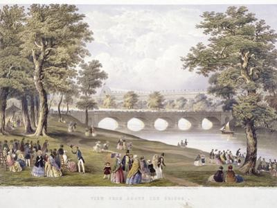 View from the Bridge on the Serpentine Towards Crystal Palace, London, 1851 by Day & Son