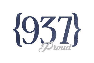 Dayton, Ohio - 937 Area Code (Blue)-Lantern Press-Art Print