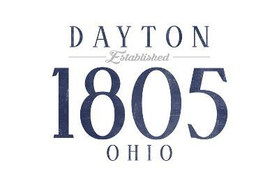 Dayton, Ohio - Established Date (Blue)-Lantern Press-Art Print