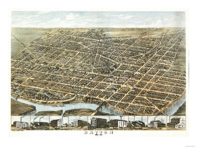 Dayton, Ohio - Panoramic Map-Lantern Press-Art Print