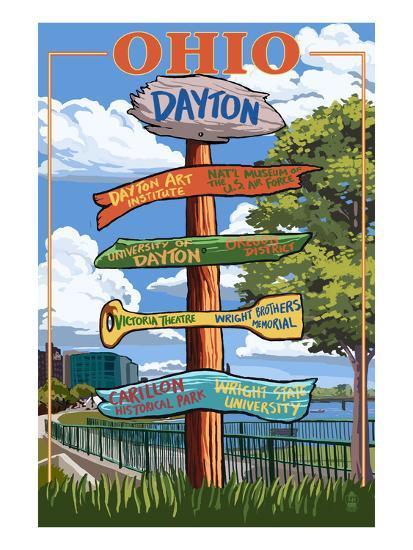 Dayton, Ohio - Signpost Destinations-Lantern Press-Art Print