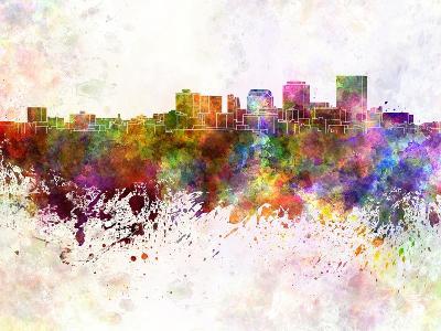 Dayton Skyline in Watercolor Background-paulrommer-Art Print