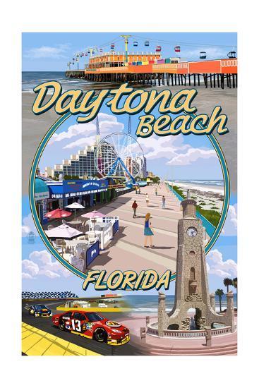 Daytona Beach, FL - Daytona Beach Montage-Lantern Press-Art Print