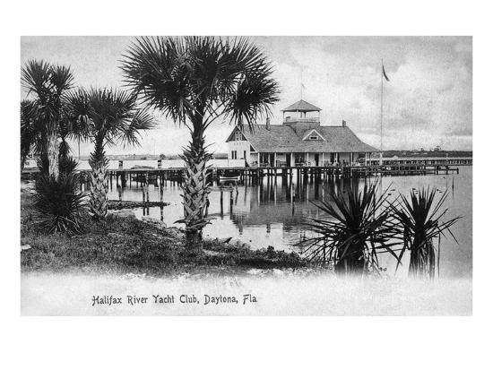 Daytona Beach, Florida - Halifax River Yacht Club Scene-Lantern Press-Art Print