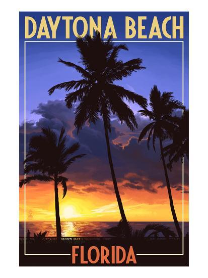 Daytona Beach, Florida - Palms and Sunset-Lantern Press-Art Print