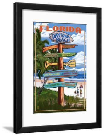 Daytona Beach, Florida - Sign Destinations-Lantern Press-Framed Art Print