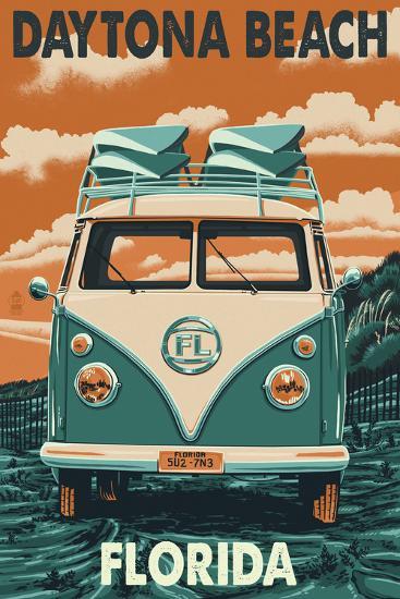 Daytona Beach, Florida - VW Van-Lantern Press-Art Print