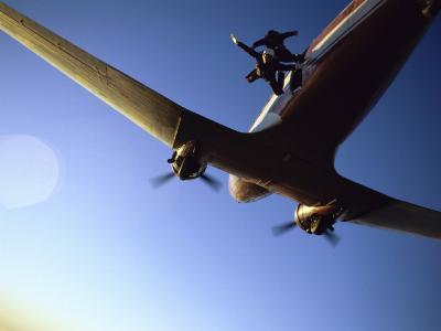 Dc-3 Airplane and Skydivers Zephyrhills, Florida, USA--Photographic Print