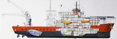 Stena Seawell Offshore-Support Ship, 1987, Uk, Cutaway Drawing