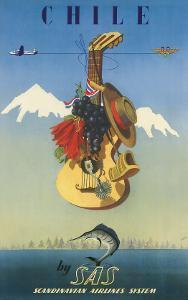 Scandinavian Airlines Chile, Gaucho Guitar, c.1951 by De Ambrogio
