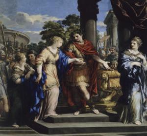 César remet Cléopâtre sur le trône d'Egypte by de Cortone Pierre