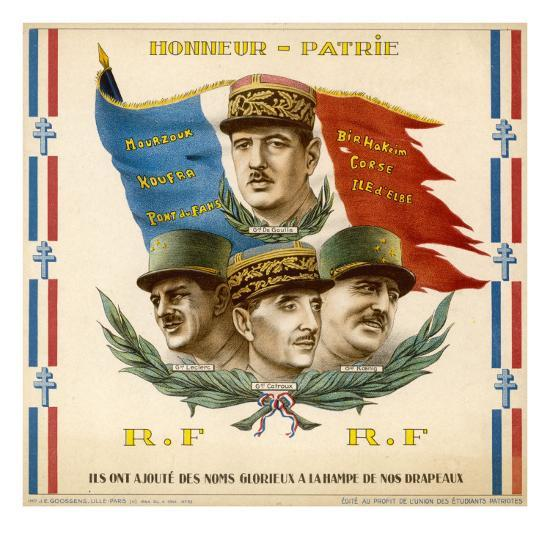 De Gaulle, Leclerc, Catroux and Koenig, Free French Military Commanders--Giclee Print