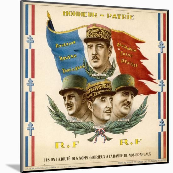 De Gaulle, Leclerc, Catroux and Koenig, Free French Military Commanders--Mounted Giclee Print
