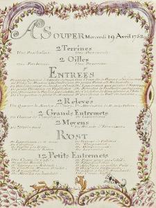 """"""" Voyages du roi au château de Choisy """" en 1752 : souper du mercredi 19 avril 1752 by de Sainte Marie Brain"""