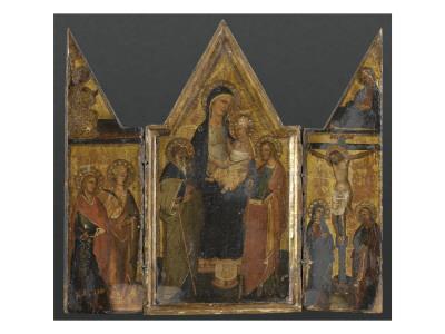 Triptyque. Panneau central : Vierge à l'Enfant avec saints Antoine et Jacques