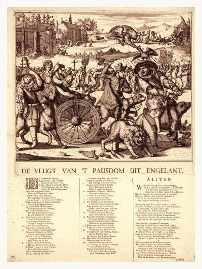 De Vlugt Van 't Pausdom Uit Engelant, Hooghe, Romeyn De, 1645-1708--Giclee Print