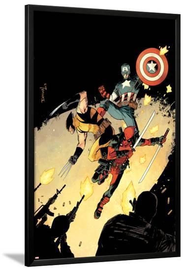 Deadpool #15 Cover: Deadpool, Wolverine, Captain America-Declan Shalvey-Lamina Framed Poster