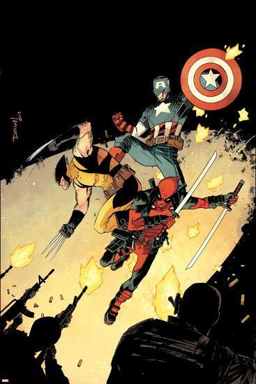 Deadpool #15 Cover: Deadpool, Wolverine, Captain America-Declan Shalvey-Art Print