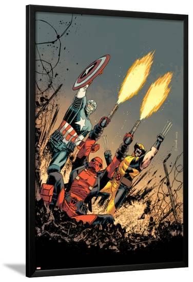 Deadpool #17 Cover: Deadpool, Captain America, Wolverine-Declan Shalvey-Lamina Framed Poster