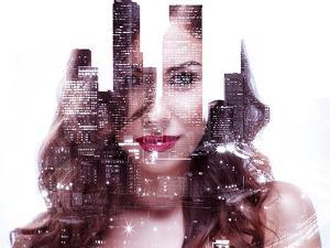 Double Exposure of a Beautiful Girl and Night Cityscape by Dean Drobot