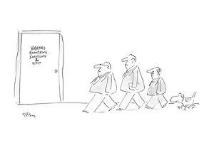 Picture of three men in a line and dog walking behind them as they approac? - New Yorker Cartoon by Dean Vietor