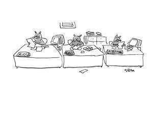 """Three cats working behind desks that reads """"mice, birds, furniture"""" - New Yorker Cartoon by Dean Vietor"""