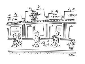 "Town street with shops called pizza and ""Second Amendment Gun Shop"". - New Yorker Cartoon by Dean Vietor"