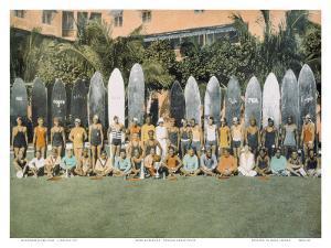 Duke Kahanamoku and Surfing Friends c.1930 by Deanna Benatovich