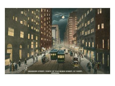 Dearborn Street at Night, Chicago, Illiniois--Art Print