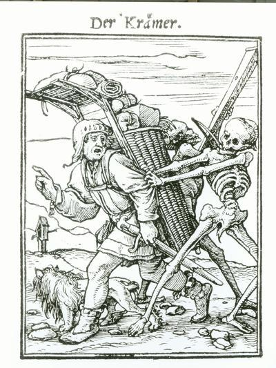 """Death and the Pedlar, from """"The Dance of Death"""", circa 1538-Hans Holbein the Younger-Giclee Print"""