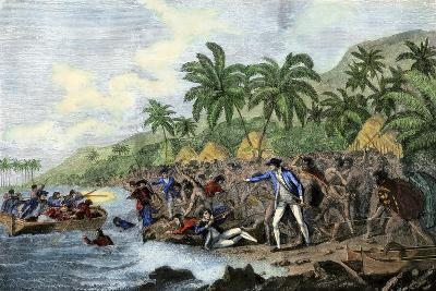 Death of English Explorer Captain James Cook in the Sandwich Islands (Hawaii), 1779--Giclee Print