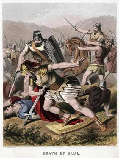 Death of Saul and His Armour Bearer in Battle with the Philistines, 1870-Kronheim & Co-Giclee Print