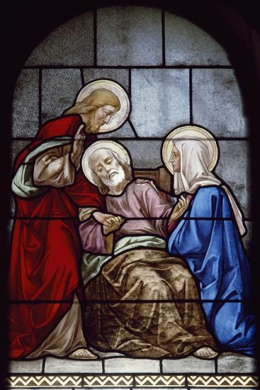 Death of St Joseph, Polychrome Glass from Crypt of Church of Nazareth, Israel--Giclee Print